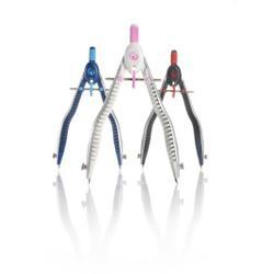 Compas MyPen cu sistem setare rapida  alb pe roz