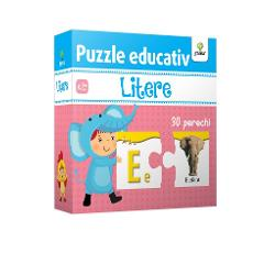 Cu ajutorul puzzle-ului Litere copilul va înv&259;&539;a foarte u&537;or literele mari &537;i mici ale alfabetului asociindu-le cu elemente a c&259;ror denumire începe cu respectivele litere Pachetul con&539;ine 30 de piese cu litere &537;i 30 de piese cu imagini care trebuie potrivite dou&259; câte dou&259;