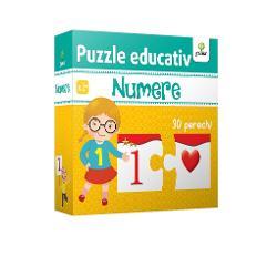 Cu ajutorul puzzle-ului Numere copilul va re&539;ine cu u&537;urin&539;&259; numerele de la 1 la 10 asociindu-le cu grupuri de elemente &537;i înv&259;&539;ând astfel s&259; numere Pachetul con&539;ine 30 de piese cu numere &537;i 30 de piese cu grupuri de elemente care trebuie potrivite dou&259; câte dou&259;