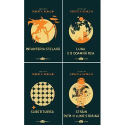 Robert A HEINLEIN este primul scriitor desemnat Grand Master de c&259;tre asocia&539;ia Science Fiction and Fantasy Writers of America &537;i primul scriitor care a ob&539;inut patru premii Hugo la categoria cel mai bun romanSeria de autor Robert A Heinlein con&539;ine urm&259;toarele titluri-Infanteria stelar&259; - Premiul Hugo pentru cel mai bun roman 1960-Luna e o doamn&259; rea-Substituirea-Str&259;in