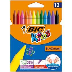 Fie ca vorbim de casa sau scoala creioane colorante BIC Kids Plastidecor sunt perfecte pentru a introduce copiii in lumea minunata de colorare si desen incepand de la 30 de luni Curcubeul de 12 culori include nuante vibrante si metalice care dau frau liber imaginatiei micilor nostri artisti Aceste creioane sunt de 12 cm lungime in loc de standardul de 17 cm astfel incat se potrivesc perfect in mainile mici Cilindrul este foarte durabil iar creionul in sine este mai puternic decat