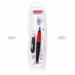 Stilou My Pen M Herlitz Corp din material rezistent de calitate Stiloul are un design ergonomic ce ofera confort la scriere Prevazut cu capac de siguranta si agatatoare Culoare stilou negru-rosu
