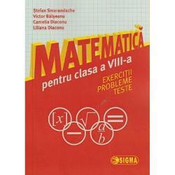 Lucrarea Matematica Exercitii Probleme Testepentru elevii de clasa a VIII-a este un instrument de lucru pentru verificarea cunostintelor dobandite si pregatirea viitoarelor examene Cunostintele de algebra si de geometrie pot fi astfel mult mai usor intelese Culegerea poate fi folosita atat individual cat si la clasa fiind conceputa pe lectii in conformitate cu noua programa de matematica