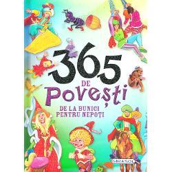 Cartea cuprinde 365 de povesti - cate una pentru fiecare zi a anului - cu texte scurte si usor de inteles de copii Fiind alese in scop educativ transmit copiilor valorile si calitatile umane bunatatea prietenia modestia harnicia etc Povestioarele sunt insotite de imagini colorate care vor atrage si vor bucura copiiiCiteste-i copilului cate o poveste in fiecare zi sau incurajeaza-l sa citeasca singur Patrundeti impreuna in lumea plina de magie si frumusete a