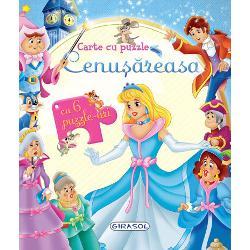 O poveste magica potrivita pentru micutii curiosiPovestea Cenusaresei intr-o carte cu 6 pagini frumos ilustrate si 6 puzzle-uri a cate 6 piese fiecare