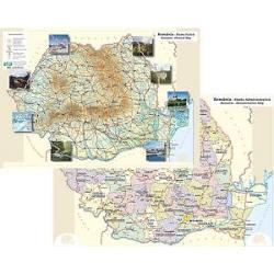 Plansa Romania fizica si politica A4 imagine librarie clb