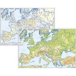 Plansa Europa fizica si politica A4 imagine librarie clb