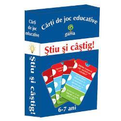 Carti de joc educative - Stiu si castig contine 50 de carduri cu intrebari si raspunsuri de limba romana matematica cunostinte generale Sunt destinate copiilor de 6-7 ani Un joc distractiv si competitiv