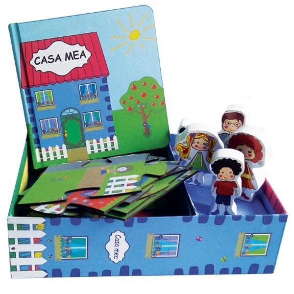 Demonstratie video pentru Casa mea deIoanaChicet-Macoveiciuc Cutia con&539;ine - 1 Carte - 1 Puzzle - 5 figurine din lemn