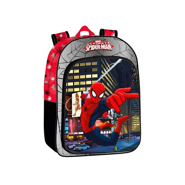 Ghiozdan scoala Marvel Spiderman cu 1 compartiment 1 buzunar exterior imprimeu cu personajul Spiderman confectionat din poliester si PVC maner fix bretele ajustabile dimensiuni 30x40x16 cm