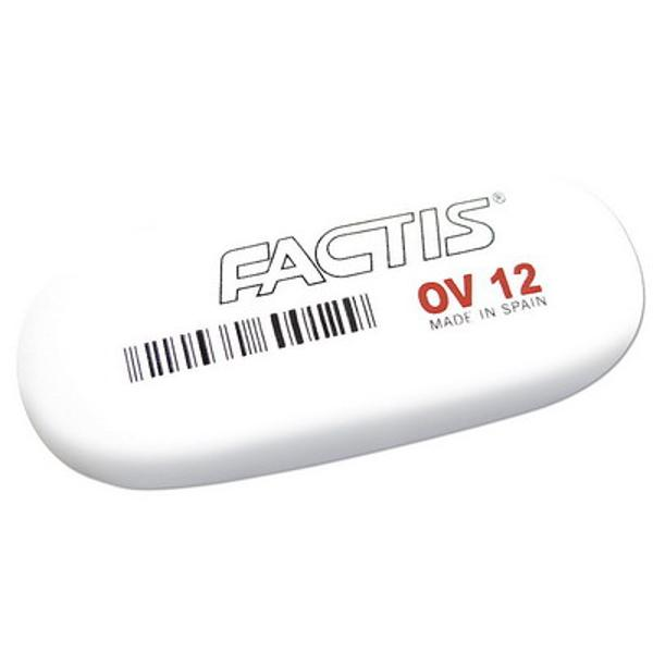 Radiera creion FACTIS OV 12 - descriere produs Alba ovala din cauciuc sinteticDimensiuni 60x29x10 mm