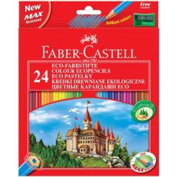 CREIOANE COLORATE 24 CULORI  ASCUTITOARE ECO - Faber-Castell• form&259; hexagonal&259;• culori luminoase• tehnologia special&259; de lipire a minei de corpul de lemn previne deteriorarea acesteia SV• vopsea pe baz&259; de ap&259; pentru protejarea mediului &351;i a s&259;n&259;t&259;&355;ii copiilor• lemn moale de calitate pentru o bun&259; ascu&355;ire cu ajutorul ascu&355;itorilor standard