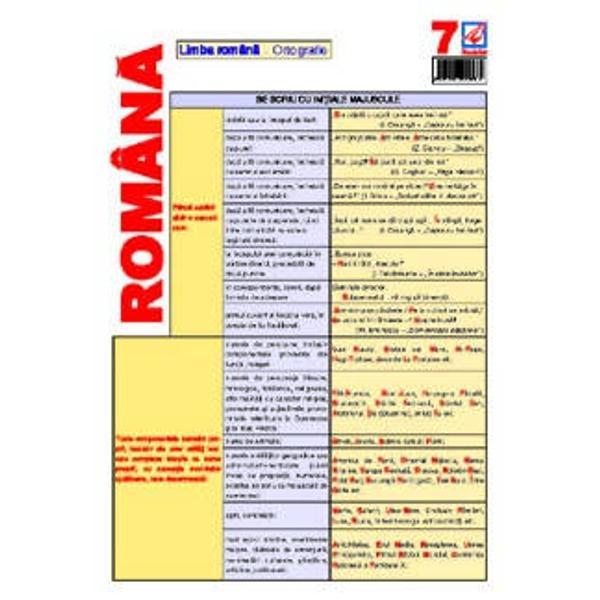 Pliantul de limba romana 7 contine notiuni de ortografie realizate in conformitate cu regulile DOOM 2