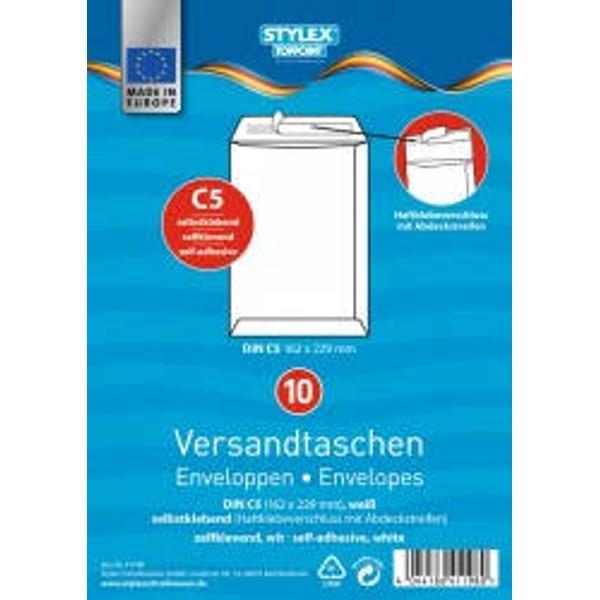 Set 10 plicuri albe siliconice C5Hartie alba 90 grmp Format 162x229 mm Ambalaj punga din plastic Produs de Toppoint-Germania