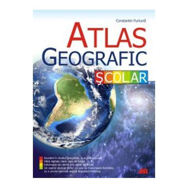 Atlasul geografic &351;colar este excelent în studiul geografiei la &351;coal&259; &351;i acas&259; Include h&259;r&355;i digitale clare u&351;or de folosit informa&355;ii de ultim&259; or&259; atent verificate &351;i un capitol dedicat &355;&259;rilor cu care se învecineaz&259; România cu o privire special&259; asupra Republicii Moldova  - Denumirile oficiale ale localit&259;&355;ilor dublate de forma uzual&259; în limba