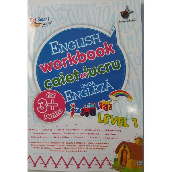 Caietul de exercitii de limba engleza pentru copiii in varsta de 3 ani contine activitati bazate pe cunostintele copilului despre literele alfabetului  recunoasterea obiectelor dupa nume etc