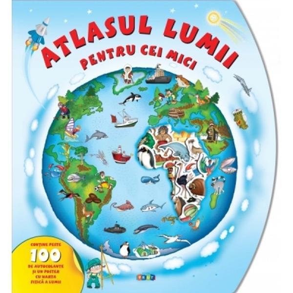 Acest atlas frumos ilustrat cu peste 100 de autocolante &537;i un poster cu harta fizic&259; a lumii va conduce copiii într-o minunat&259; c&259;l&259;torie în jurul lumii Fiecare pagin&259; prezint&259; harta unui continent &537;i este înconjurat&259; cu mici imagini &537;i informa&539;ii interesante Copilul va afla numele continentelor &537;i ale &539;&259;rilor ale m&259;rilor &537;i ale oceanelor va afla ce plante &537;i animale tr&259;iesc în