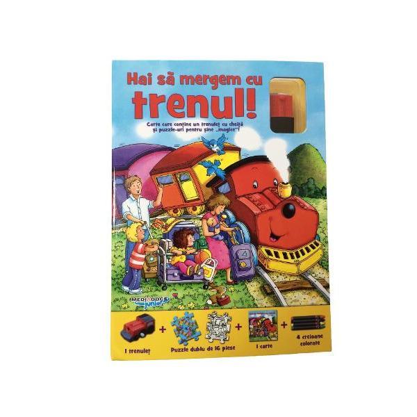 Carte care contine un trenulet cu cheita si puzzle din 16 piese pentru sine magice care pot fi si personalizate de cei mici cu insertul de creioane colorate