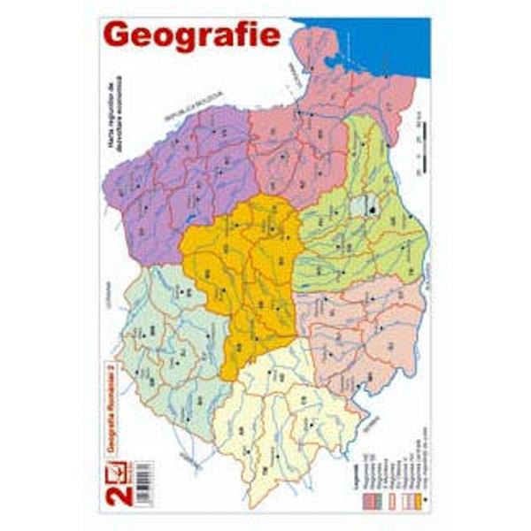 Pliantul de Geografia Romaniei 2 contine harta unitatilor de dezvoltare economica harta unitatilor de relief harta hidrografica a Romaniei harta climatica a Romaniei harta principalelor ramuri industriale si harta transporturilor din Romania