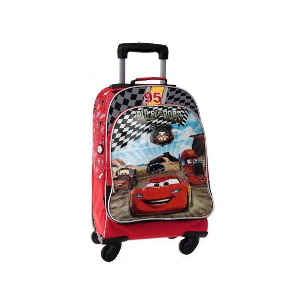 Troler Disney Cars Hometown cu 1 compartiment 1 buzunar exterior maner fix  maner telescopic 4 roti cu imprimeu personaje din desenul animat Cars confectionat din poliester si PVC