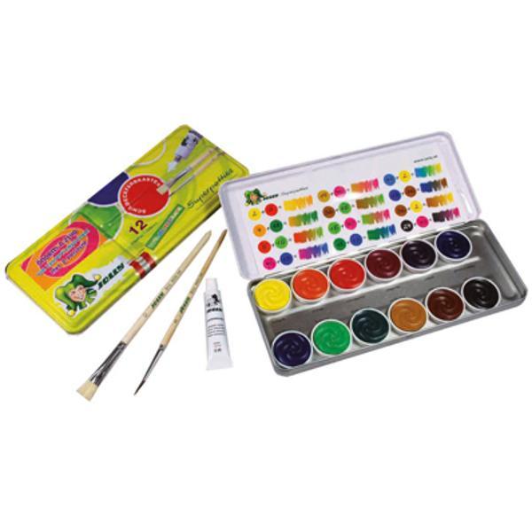 Acuarele Jolly 12 culori Include un tub de culoare alba si o pensula Produs de JOLLY-Austria