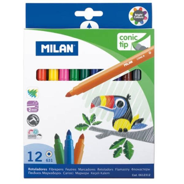 Carioca 12 culori v&226;rf conic Milan; carioc&259; pe baz&259; de ap&259; v&226;rf conic;permite &537;i trasarea de linii groase;con&539;in o cantitate mare de cerneal&259;