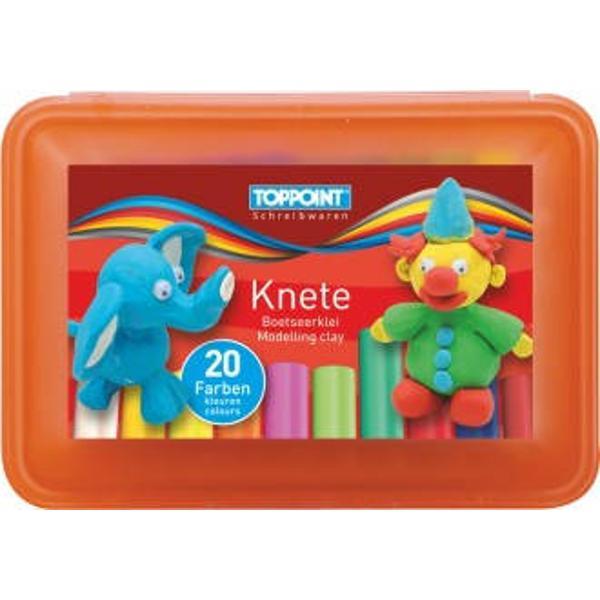 Plastilina 20 culoriset-6 culori neon si 14 culori de baza Ambalare cutie plastic divers colorata-rosu albastru verdeProdus de TOPPOINT-Germania