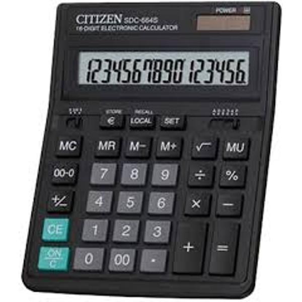 Calculator de birou cu design elegant si compact ecran inclinat ideal pentru orice birouCaracteristici16 digitiDisplay LCD inclinatAlimentaresolarabaterieInchidere automata in caz de neutilizareTaste din cauciucTaste schimbare semn  sau minusTasta 0-00Calcul radicaliCalcule
