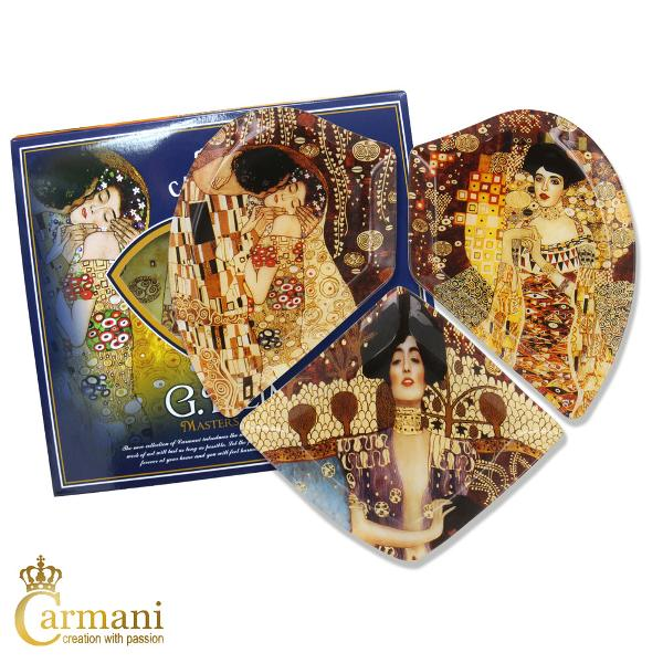 Heart shape glass plates printed with The Kiss Adele and Judith paintings by one of the best known Austrian artist Gustav Klimt This is a sophisticated decoration for a modern and elegant home The decorative plate is part of inspired by Gustav Klimt Collection It came in a lovely gift box Brilliant gift for any occasion Mothers Day Valentines Day Birthday Christmas or Anniversary
