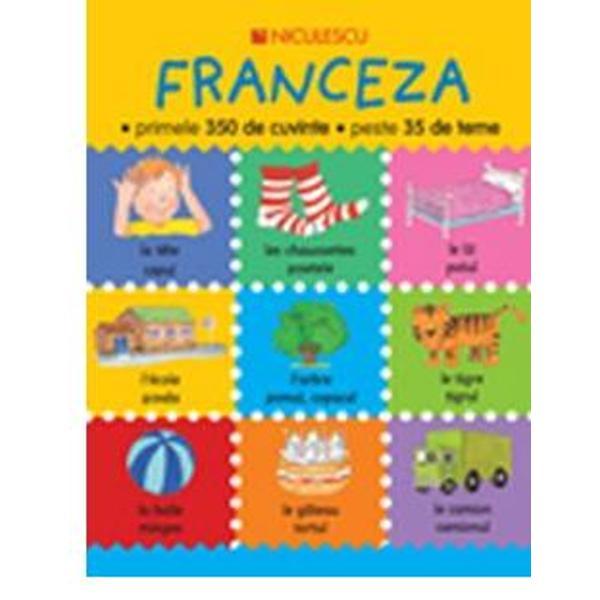 Aceast&259; carte se adreseaz&259; copiilor cu vârsta de 4-8 ani care încep s&259; înve&355;e limba francez&259;Cuprinde peste 350 de cuvinte uzuale din francez&259; organizate pe 35 de teme precum &351;coal&259; cas&259; familie sporturi activit&259;&355;i