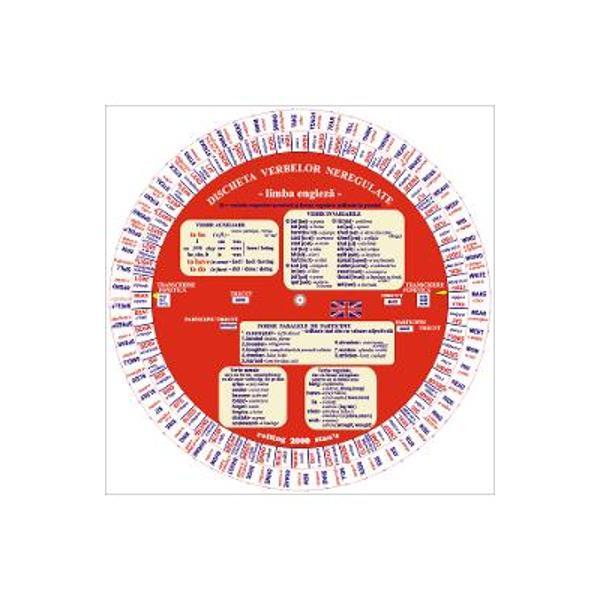 Verbe sistematizate &351;i prezentate prin intermediul unui disc rotitor– 120 de verbe neregulate frecvent utilizate dispuse pe dou&259; coroane circulare; verbele auxiliare sunt prezentate într-o caset&259;În ferestrele discului pot fi citite– formele de Trecut &351;i de Participiu trecut