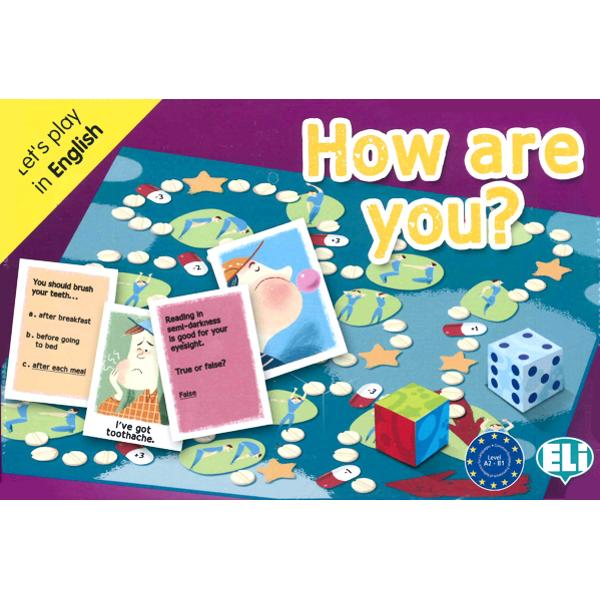 A great team game in which players mime draw and answer questionsabout the human body health nutrition and daily healthy habits suchas sports Are you ready to playThe box contains• a playing board;• a numbered dice;• a dice with coloured faces;• 132 game cards divided in six categories;• a teacher's booklet