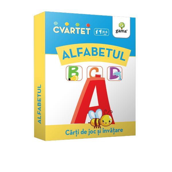 """Cvartet • Alfabet este un joc de c&259;r&539;i educativ În timp ce încearc&259; s&259; formeze cele mai multe """"cvartete"""" pentru a câ&537;tiga copilul înva&539;&259; literele alfabetului exerseaz&259; folosirea sunetului corespondent unei litere în pozi&539;ia ini&539;ial&259; dintr-un cuvânt î&537;i îmbog&259;&539;e&537;te vocabularul &537;i socializeaz&259; cu al&539;i copiibr"""
