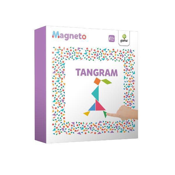 """Considerat """"primul test de inteligen&539;&259; din istorie"""" tangramul este un vechi puzzle chinezesc cu 7 piese Puse împreun&259; acestea alc&259;tuiesc un p&259;trat dar &537;i mii de alte formeMagneto • Tangramcon&539;ine piese magnetice &537;i propune rezolvarea mai multor probleme Modelele propuse au grade de dificultate diferite Rezolvarea puzzle-urilor magnetice contribuie la exersarea gândirii"""