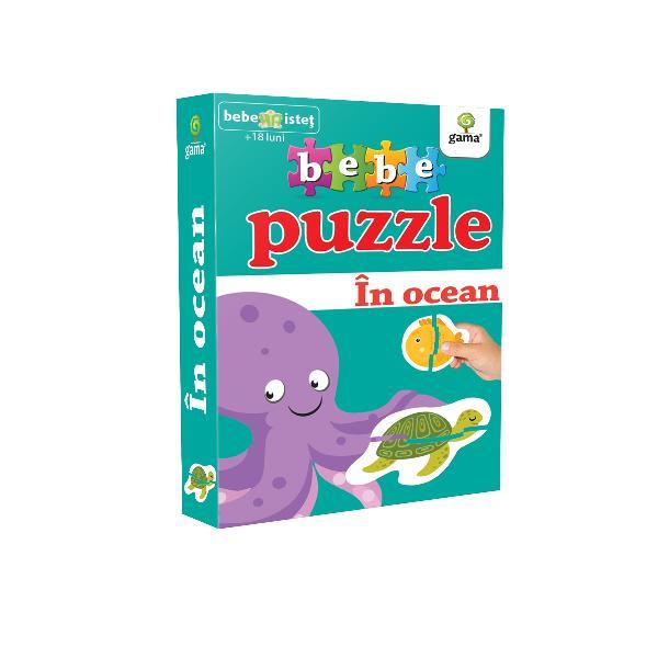 Puzzle-ul con&539;ine 20 piese de mari dimensiuni potrivite pentru copiii cu vârsta peste 18 luni Acestea se potrivesc câte dou&259; astfel încât s&259; alc&259;tuiasc&259; 10 vie&539;uitoare marinePotrivit înc&259; de la 12 luni puzzle-ul dezvolt&259; abilit&259;&539;ile cognitive r&259;bdarea &537;i precizia mi&537;c&259;rilor