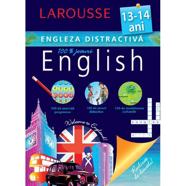 Cartea este conceputa de specialistii Larousse pentru copiii de 13-14 ani care studiaza limba englezaContine exercitii progresive jocuri didactice medalioane culturale· Recapitularea unor notiuni gramaticale esentiale· Exercitii adaptate in vederea aplicarii cunostintelor · Jocuri