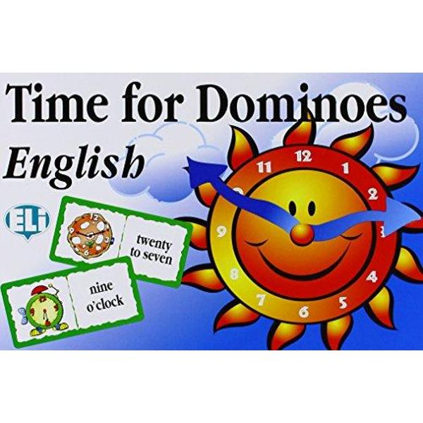 A dominoes game for beginners for Secondary SchoolLearn how to read and tell the time in EnglishEach domino has on one half a picture of a clock showing the time and on theother half a time in written form Players have to match the times on thedominoes There are two playing possibilities using on the hour and on the halfhour times or alternatively players can use quarter past and quarter to forms