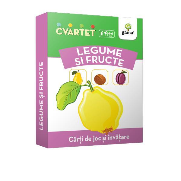 """Cvartet • Legume &537;i fructeeste un joc de c&259;r&539;i educativ În timp ce încearc&259; s&259; formeze cele mai multe """"cvartete"""" pentru a câ&537;tiga copilul înva&539;&259; despre familii de legume &537;i fructe î&537;i îmbog&259;&539;e&537;te vocabularul &537;i socializeaz&259; cu al&539;i copiiPachetul con&539;ine 32 de carduri împ&259;r&539;ite în 8 cvartete"""