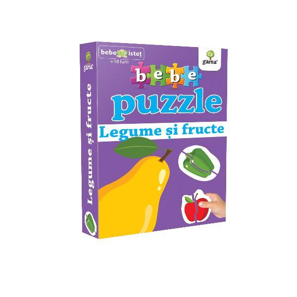 Puzzle-ul con&539;ine 20 piese de mari dimensiuni potrivite pentru copiii cu vârsta peste 18 luni Acestea se potrivesc câte dou&259; astfel încât s&259; alc&259;tuiasc&259; 10 legume &537;i fructePotrivit înc&259; de la 12 luni puzzle-ul dezvolt&259; abilit&259;&539;ile cognitive r&259;bdarea &537;i precizia mi&537;c&259;rilor
