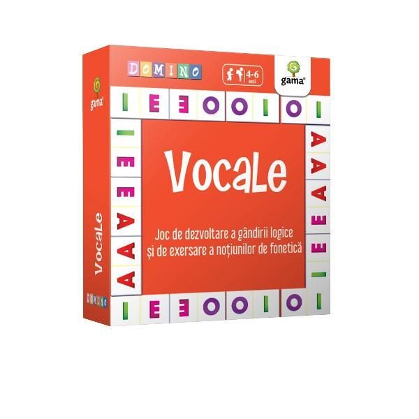 Joc de dezvoltare a gândirii logice &537;i de exersare a no&539;iunilor de fonetic&259; Domino Vocale ajut&259; copiii s&259;-&537;i fixeze cuno&537;tin&539;ele despre vocale s&259; identifice pozi&539;ia unui sunet în cadrul cuvântului &537;i s&259;-&537;i dezvolte vocabularul Jocul poate fi jucat de 2-4 juc&259;tori