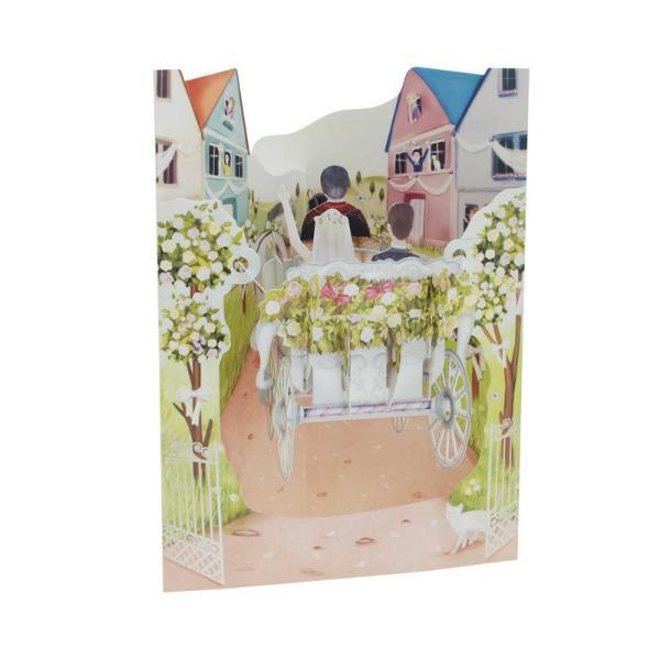 Felicitare 3D Swing Cards dinamica&160;- Caleasca de nuntaFelicitarile 3D Swing Cards sunt cele mai detaliate bine concepute si interesante felicitari pe care le veti vedea vreodata O gama de felicitari tip pop-up multi-premiata sunt felicitari 3D interactive vin gata asamblate se deschid pentru a forma intr-un mod incredibil&160;forme&160;3D au spatiu pentru mesajulDimensiunea 15 x 20 cm