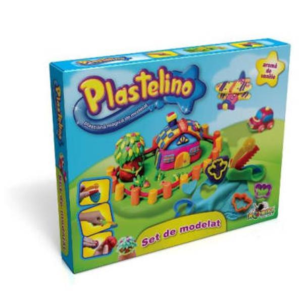 Bine ai venit in lumea lui Plastelino Acesta este locul magic in care poti sa-ti imaginezi sa creezi sa construiesti la nesfarsit Aventura imaginatiei tale incepe acum Aceasta este trusa mesterului Plastelino&160; Foloseste formele de modelat pentru a crea o multime de obiecte din plastilina