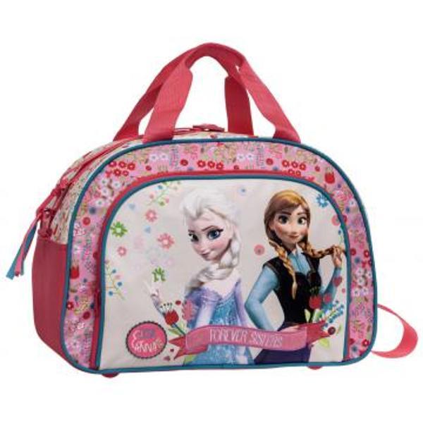 Geanta de voiaj Frozen este ideala pentru orice excursie are 40 cm un compartiment principal si un buzunar in partea din fata