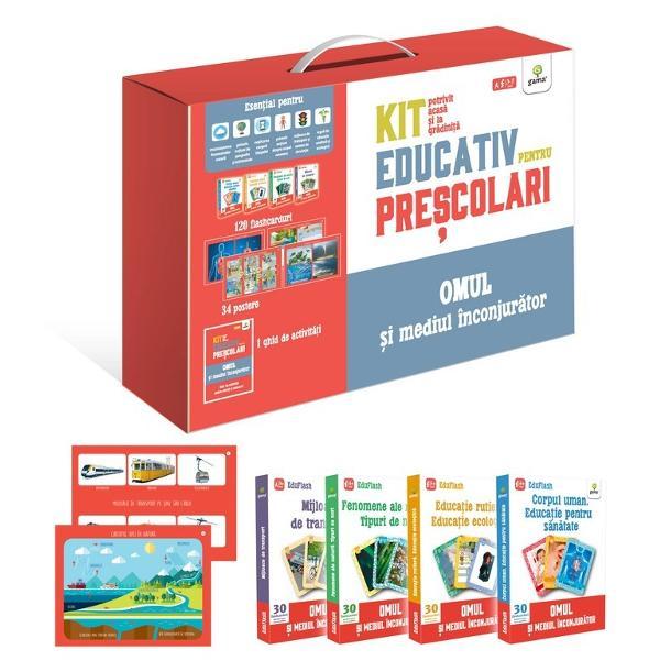 Kit de înv&259;&539;are pentru pre&537;colari potrivit acas&259; &537;i la gr&259;dini&539;&259; Con&539;ine 34 de postere &537;i 120 de flashcarduri precum &537;i un ghid cu sugestii de activit&259;&539;i Materialele educative pot fi folosite atât de p&259;rin&539;i acas&259; cât &537;i de educatori Sunt esen&539;iale pentru • recunoa&537;terea fenomenelor naturii • introducerea primelor no&539;iuni de