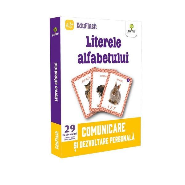 """Pachetul """"Literele alfabetului"""" con&539;ine 29 de flashcarduri cu litere care au pe verso imaginea unui element a c&259;rui denumire începe cu sunetul corespunz&259;tor literei Ele pot fi folosite pentru înv&259;&539;area alfabetului pentru recunoa&537;terea literelor mici de tipar figurate &537;i ele al&259;turi de majuscule sau chiar pentru deprinderea citirii dup&259; ce copilul s-a familiarizat cu literele &537;i"""