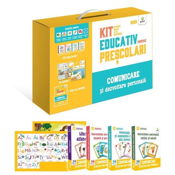 Kit de înv&259;&539;are pentru pre&537;colari potrivit acas&259; &537;i la gr&259;dini&539;&259; Con&539;ine 35 de postere &537;i 119 flashcarduri precum &537;i un ghid cu texte literare &537;i sugestii de activit&259;&539;i Materialele educative pot fi folosite atât de p&259;rin&539;i acas&259; cât &537;i de educatori Sunt esen&539;iale pentru • înv&259;&539;area alfabetului • deprinderea citirii • dezvoltarea