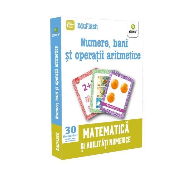 """Pachetul """"Numere bani &537;i opera&539;ii aritmetice"""" con&539;ine 30 de flashcarduri împ&259;r&539;ite pe categorii colorate distinct &537;i numerotate separat numere pân&259; la zece &537;i cantit&259;&539;i corespunz&259;toare pe verso adun&259;ri &537;i sc&259;deri cu rezultatul pe verso &537;i bani române&537;ti cu descompunere în subdiviziuni pe verso Cele cu numere &537;i num&259;r"""