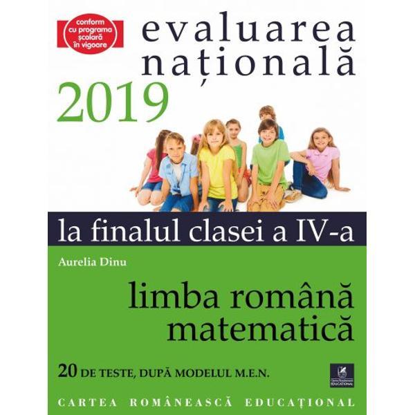 Culegerea de fa&355;&259; este util&259; elevilor de clasa a IV-a &238;n vederea sus&355;inerii cu succes a probei de evaluare a competen&355;elor de &238;n&355;elegere a textului scris &238;n limba rom&226;n&259; &351;i evaluarea competen&355;elor  matematice la finalul anului &351;colar Proba const&259; &238;n administrarea a dou&259; teste c&226;te unul pentru fiecare tip de competen&539;&259; vizat&259; Testele propuse respect&259; &238;ntru totul standardele