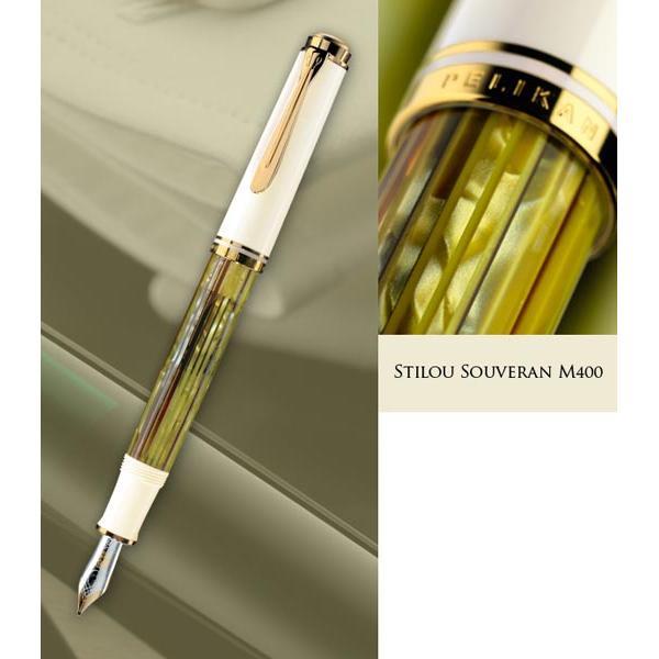 Stilou elegant marca Pelikan cu penita din aur de 14K lucrata manual cu gravura fina si decoratiuni din rodiuAccesoriile sunt placate cu aur si au suprafata lucioasa ca un diamantMecanismul de umplere este clasic cu piston
