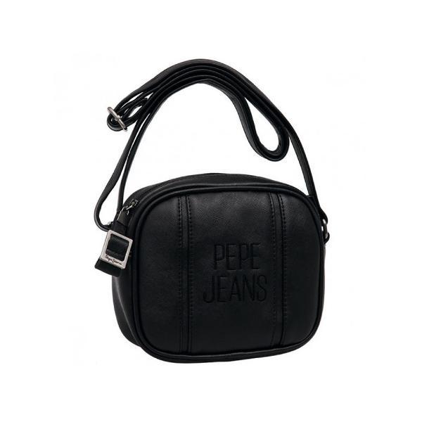 Geanta de umar Pepe Jeans Embroidery 18 cm din piele ecologica culoarea negru 1 compartiment principal buzunare interioare si bareta ajustabila de cca 90 cm